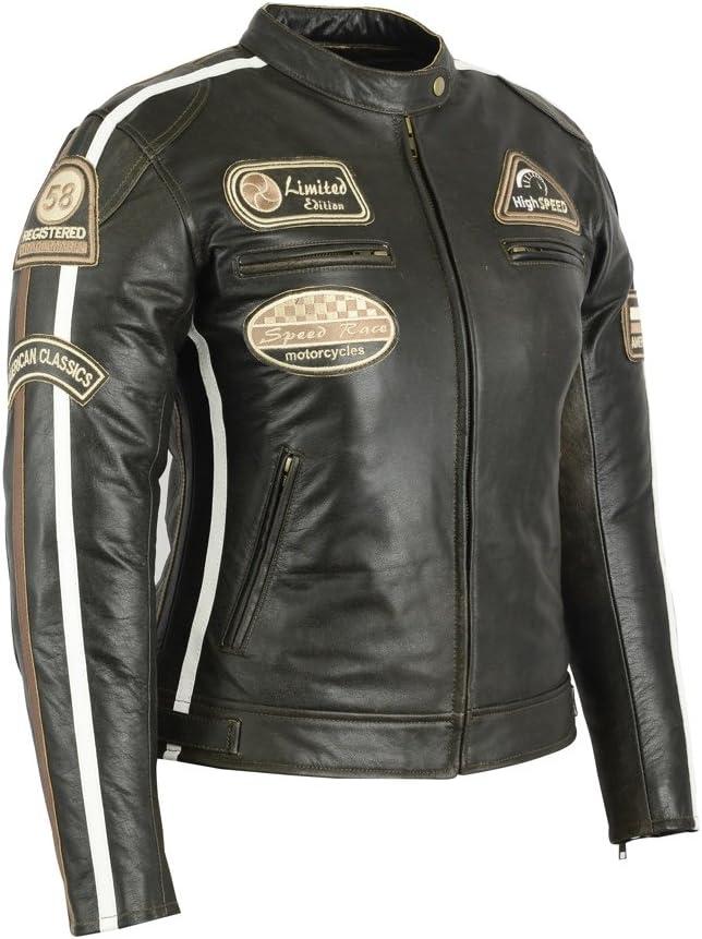Damen Retro Motorrad Lederjacke 80/´s oldschool in verschieden Farben erh/ältlich 36, Braun