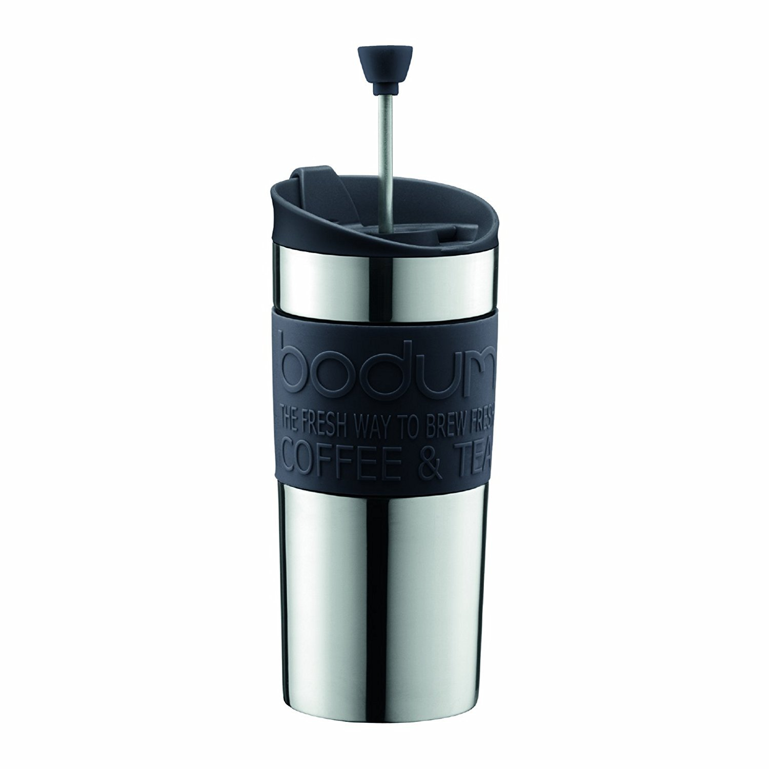 Bodum - Travel Mug - Vacuum Insulated with Interchangeable French Press Lid - Stainless Steel - 0.35l - Black Grip and Lid