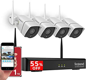 Security Camera System Wireless, 1080P 8CH Wireless Home Security Systems with 4PCS 2MP Full HD Cameras 1TB HDD Night Vision and Free App for Indoor Outdoor Video Surveillance
