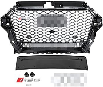 RS3 Front Grille Hood Sport Hoenycomb Bumper Grill For 14-16 Audi A3 S3 8V 13-16