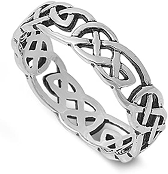 Sterling Silver Woman/'s Men/'s Celtic Knot Infinity Ring Fashion Band Sizes 4-13
