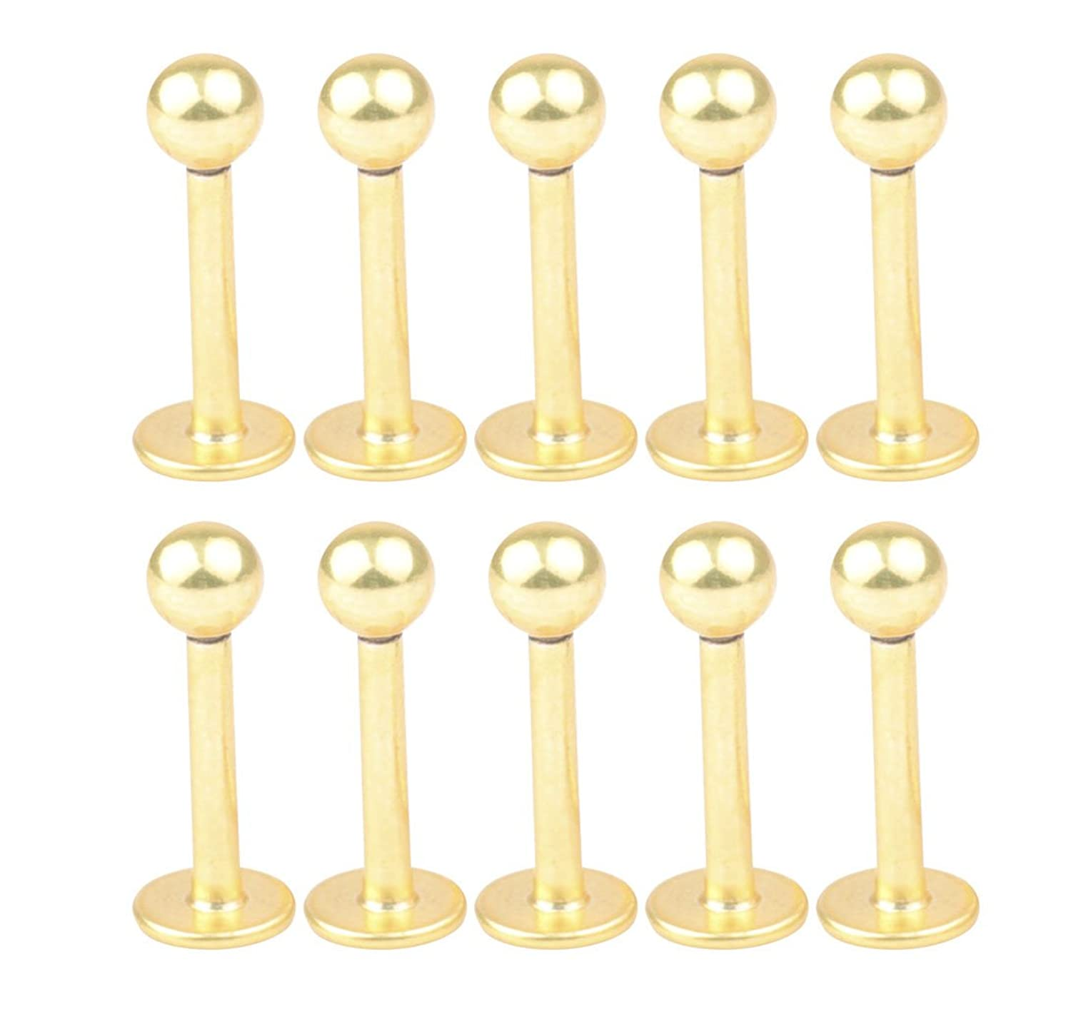 10PCS 16G 8mm Stainless Steel 3mm Ball Labret Monroe Lip Ring/ Tragus/ Helix Earring Stud Barbell Body Piercing Jewelry Surgical Steel