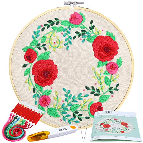 (Caydo Full Range Embroidery Starter Kit with Pattern and Instructions, Cross Stitch Kit Including Embroidery Cloth with Rose Garden Pattern, Bamboo Embroidery Hoop, Color Threads and Tools)