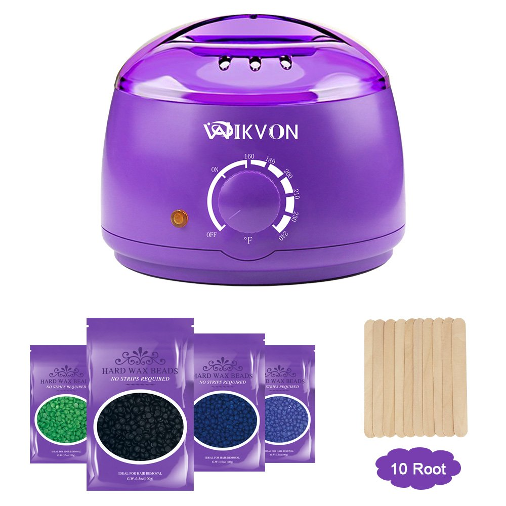 Wax Heater, Electric Wax Warmer Hair Removal Kit with 14 oz Hard Wax Beans and Waxing Spatulas (Purple) Wikvon