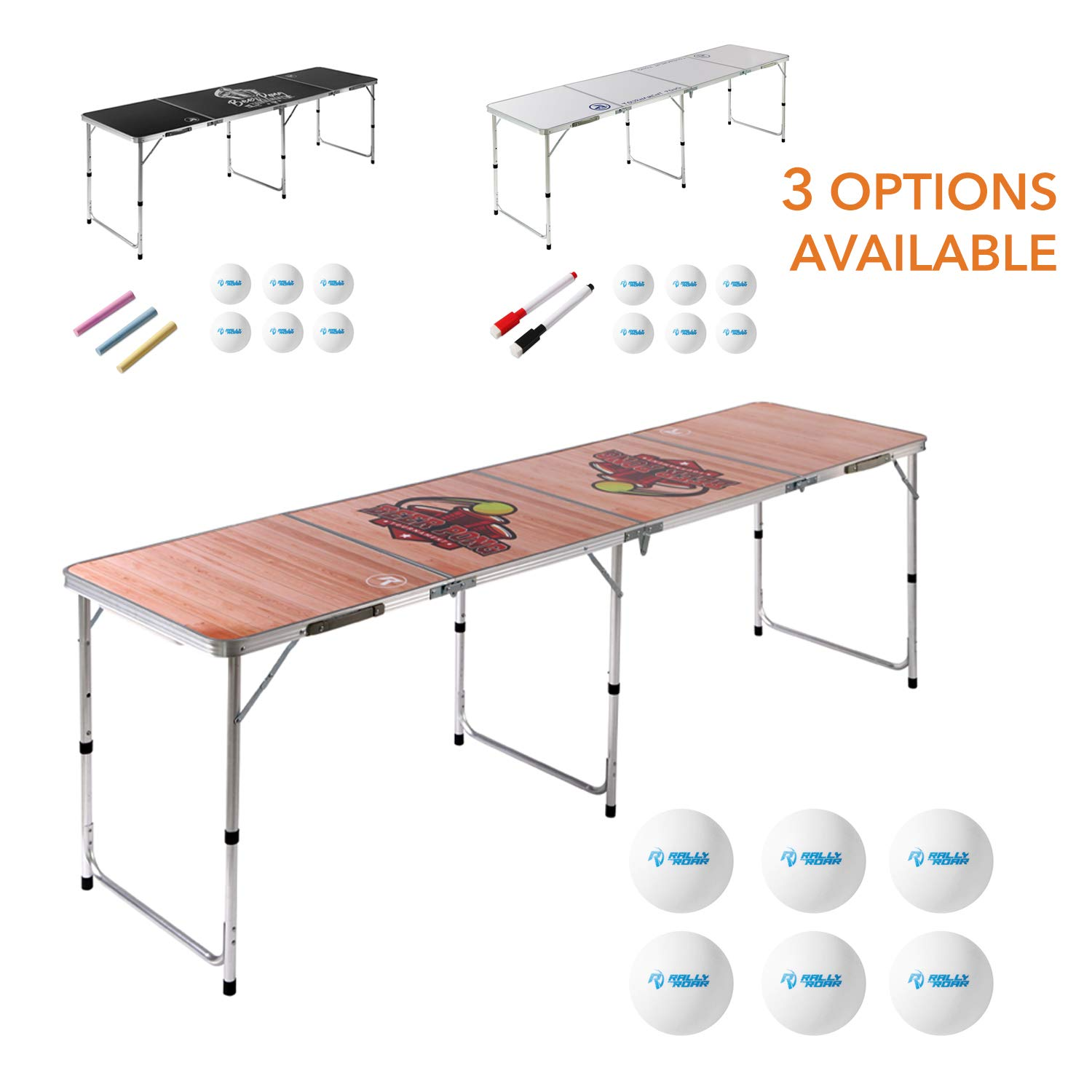 8 Foot Beer Pong Table WOOD GRAIN by Rally and Roar - Portable Party Drinking Games - Official 8ft x 2ft x 27.5in Regulation Size - Tournament Ready - Premium Indoor-Outdoor Beirut Table - Lightweight by Day 1 Fitness
