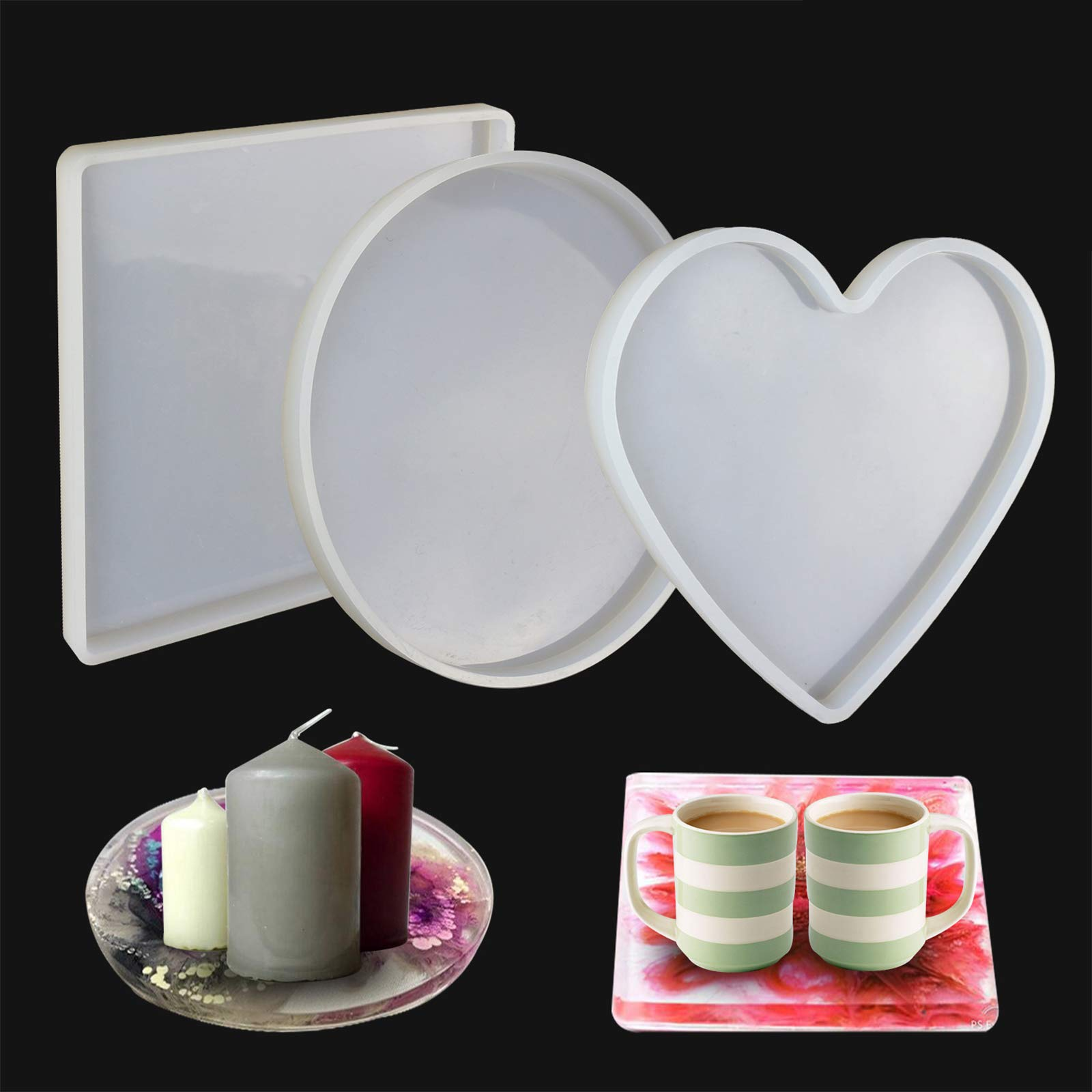 LET'S RESIN Large Resin Molds, 3 Pcs Large Resin Tray Molds including Round, Square, Heart Shape, Resin Silicone Molds for Casting Epoxy Resin