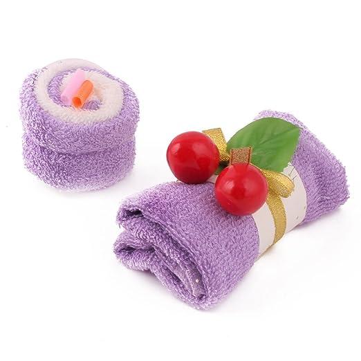 Amazon.com: eDealMax Limpieza Fiesta de cumpleaños de microfibra Cereza decoración cara de la Mano Caja de Regalo Toalla Toallita púrpura: Home & Kitchen