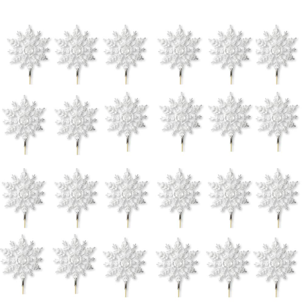 White Snowflake Picks - Set of 24 White Glittered Snowflakes on a Stick - Artificial Snow Flake Pics for Crafts and Decorating - Cupcake or Cake Toppers