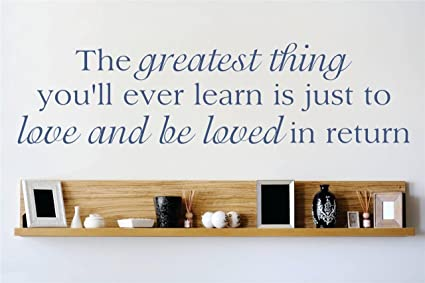 Decal Vinyl Wall Sticker The Greatest Thing Youll Ever Learn Is