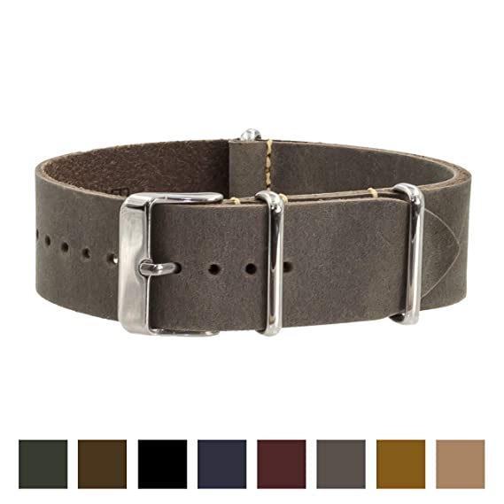 19481cfc4b6 Benchmark Straps 22mm Gray Oiled Leather NATO Watchband (More Colors  Available)