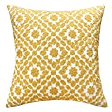 Decorative Pillow Cover - SLOW COW Cotton Embroidery Decor Throw Pillow Cover Yellow Decorative Cushion Cover 18x18 Inches