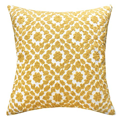 (SLOW COW Cotton Embroidery Decor Throw Pillow Cover Yellow Decorative Cushion Cover 18x18 Inches)