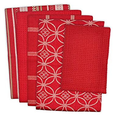 DII 100% Cotton, Ultra Absorbent, Oversized, Washing, Drying, Basic Everyday Kitchen Dishtowel 18 x 28  & Dishcloth 13 x 13 , Set of 5 - Red