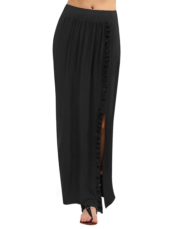 for Womans Regular fit Jet Black high Waist 2XL Plus Size Maxi Skirt