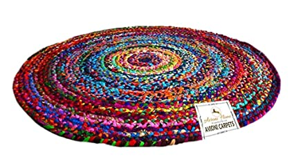 Avioni Cotton Chindi Rug for Home-Natural Eco Yarn-152 cm (5 feet) Diameter