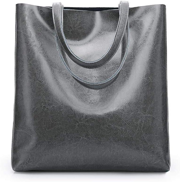 AWJK Bolsa de portátil Comercial de Gran Capacidad de la Bolsa de Asas del Bolso del Bolso de Las Mujeres Bolso de Cuero gray