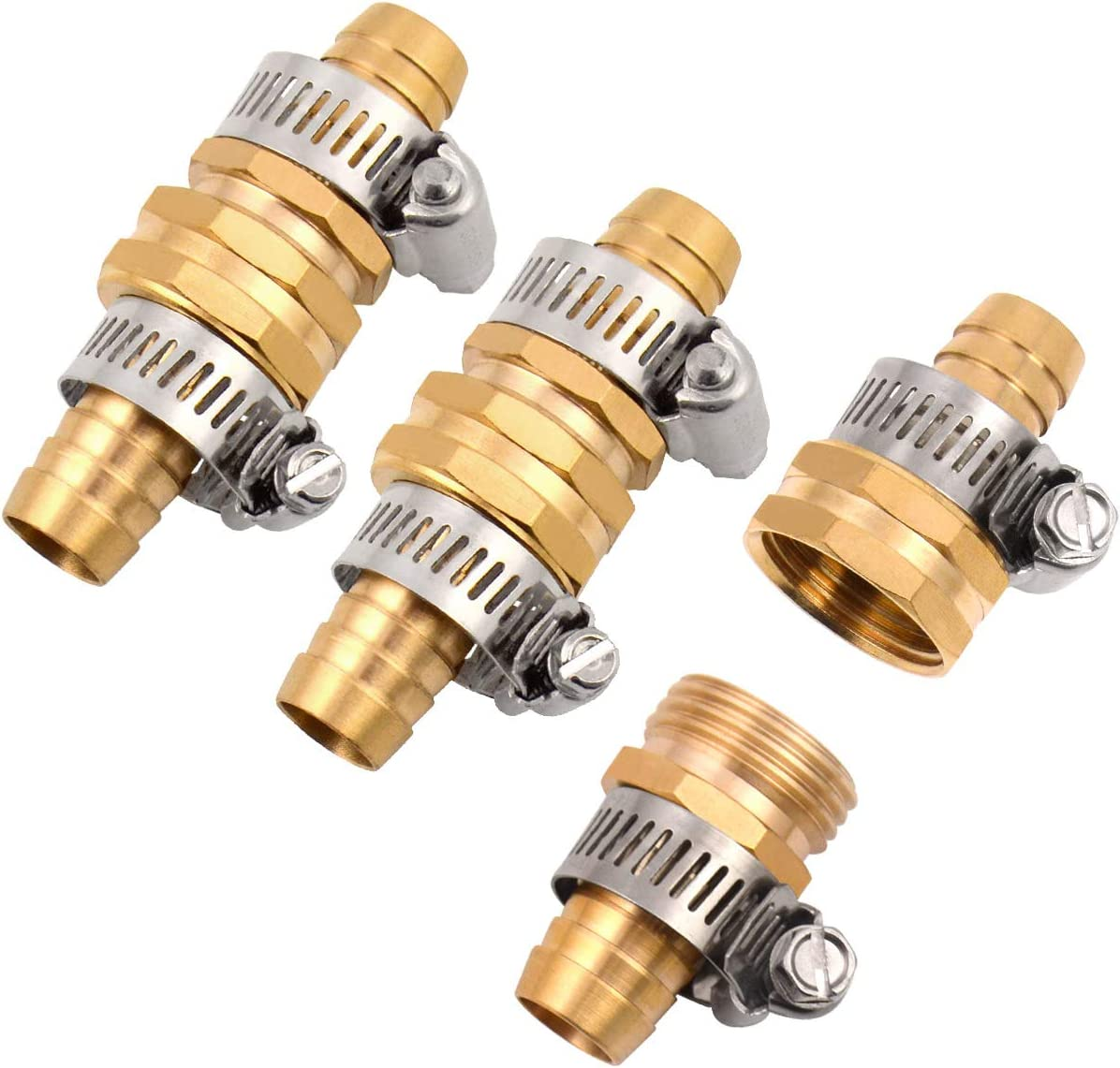 """3Sets Solid Brass Thicken 5/8"""" Garden Hose Mender End Repair Male Female Connector with Stainless Clamp"""