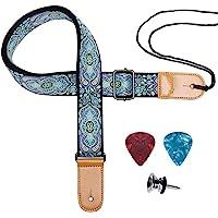 Ukulele Strap, Eyeshot Adjustable Premium Leather Ukulele Strap (Blue totem)