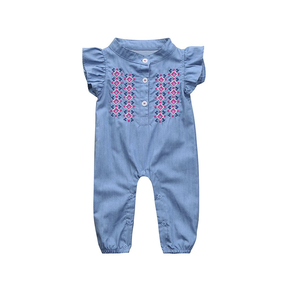 WOCACHI Toddler Baby Girls Clothes Baby Girls Infant Floral Embroidery Denim Sleeveless Clothes Jumpsuit Romper