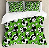 Ambesonne Soccer Duvet Cover Set Queen Size, Funny Panda Animals Playing with Balls Hand Drawn Style Hearts and Stars, Decorative 3 Piece Bedding Set with 2 Pillow Shams, Lime Green Black White