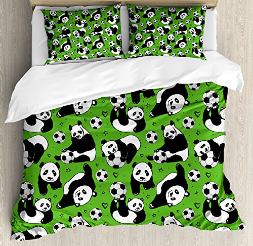 Ambesonne Soccer Duvet Cover Set Queen Size, Funny Panda Animals Playing with Balls Hand Drawn Style Hearts and Stars, Decorative 3 Piece Bedding Set with 2 Pillow Shams, Lime Green Black White by Ambesonne