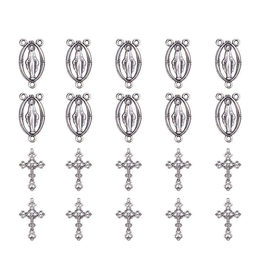 PandaHall Elite About 80 Pcs Tibetan Silver Rosary Miraculous Medal Oval Center Parts Chandelier Virgin Links 8 Styles for Jewelry Making PH PandaHall