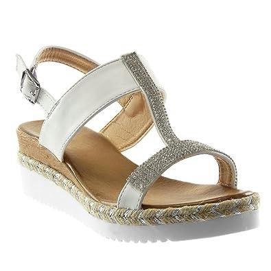 2ac5b5c7115 Angkorly - Chaussure Mode Sandale Mule Plateforme lanière Cheville salomés  Femme Strass Diamant Corde Bois Talon