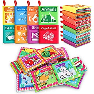 Magicfun Cloth Book Baby, Baby Bath Books Baby's First Soft Cloth Book Set for Infant Toddler Children Educational Books Toys Baby Gifts for Boy Girl(Pack of 8 )