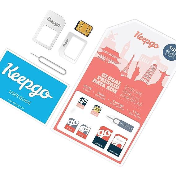 Keepgo - Tarjeta SIM internacional 4G LTE - Europa, Asia, Australia y América -