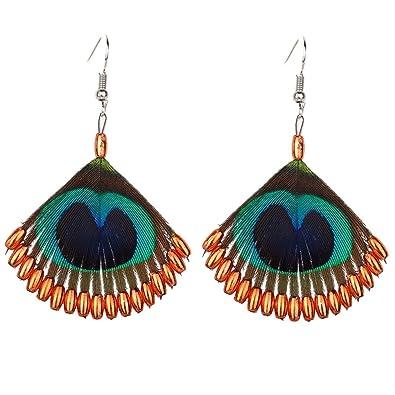 977dc7411a12 YAZILIND pavo real de plumas anzuelo aretes de moda accesorios bonito  champán perla colgante de aleación