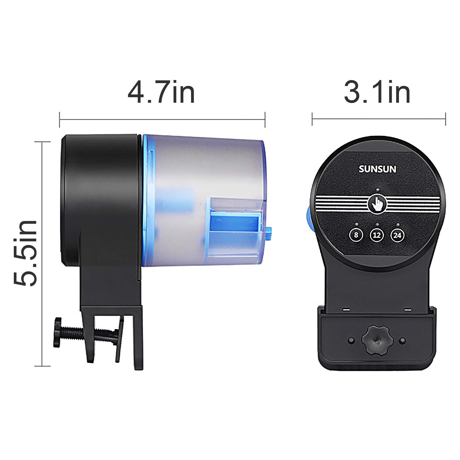 DOTSOG Digital Automatic Fish Feeder - Rechargeable Timer Fish Feeder with USB Charger Cable, Fish Food Dispenser for Aquarium or Fish Tank by DOTSOG (Image #4)