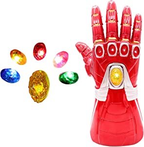 Bulex Adult Iron Man Infinity Gauntlet with Removable Magnet Infinity Gem Stones Electronic Fist Halloween Cosplay Props (Red Adult Size)