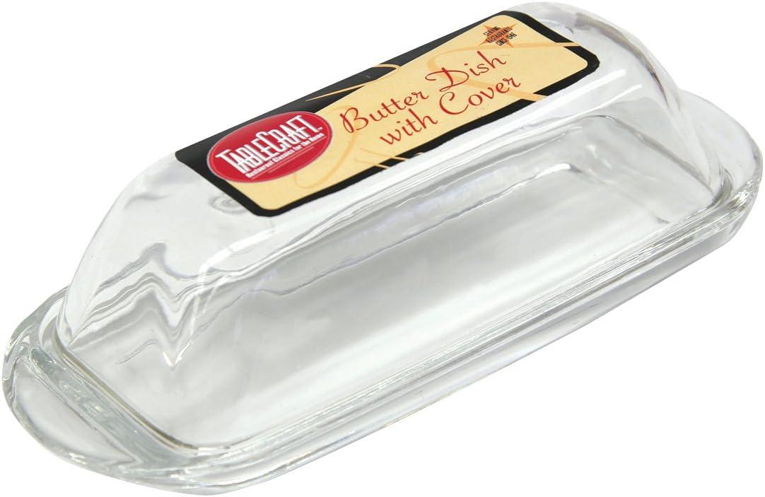 Tablecraft H124 Clear Glass Butter Dish