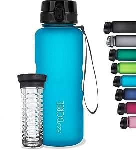 Hiking Unbreakable BPA-Free Lightweight 720/°DGREE Water BottleuberBottle +Fruit Infuser Yoga Workout Leakproof Bike 1L Reusable Tritan Sports Bottle for Fitness Sustainable Outdoor