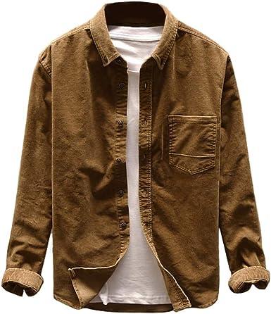 Momola_ - Camisa de Pana para Hombre, Manga Larga, Estilo Casual Verde Caqui XXXL: Amazon.es: Ropa y accesorios
