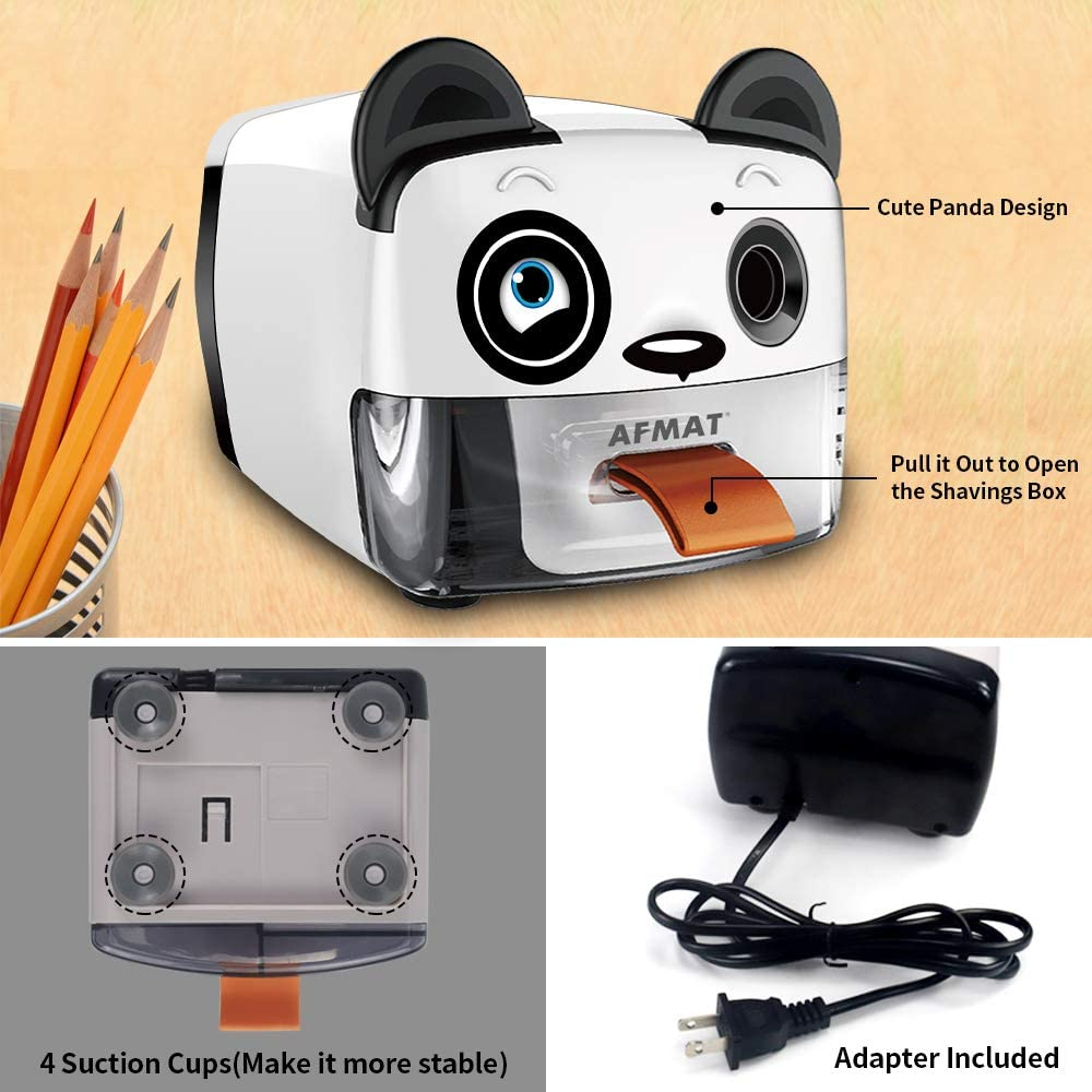 Heavy Duty Pencil Sharpener 6.5-8mm AFMAT Electric Pencil Sharpener for Kids School//Office//Home Panda Design Kids Pencil Sharpener,Auto Stop Fast Sharpen Helical Blade for No.2//Colored Pencils