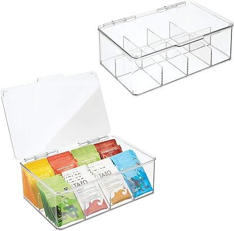 mDesign – Cajas de té (juego de 2) – Práctica caja para guardar infusiones y bolsas de té – Cajas organizadoras apilables – Perfecta como organizador de cocina: Amazon.es: Hogar