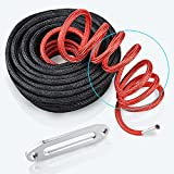 Black 3/8'' x 85' 20000LBS + Synthetic Winch Line Rope Cable + Rock & Heat Guard w/ Hawse Fairlead Replacement Kit