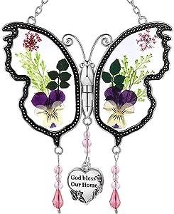 KY&BOSAM God Bless Our Home New Butterfly Suncatcher Glass Wind Chime SunCatchers Gifts for Grandma Day for Grandma Birthdays