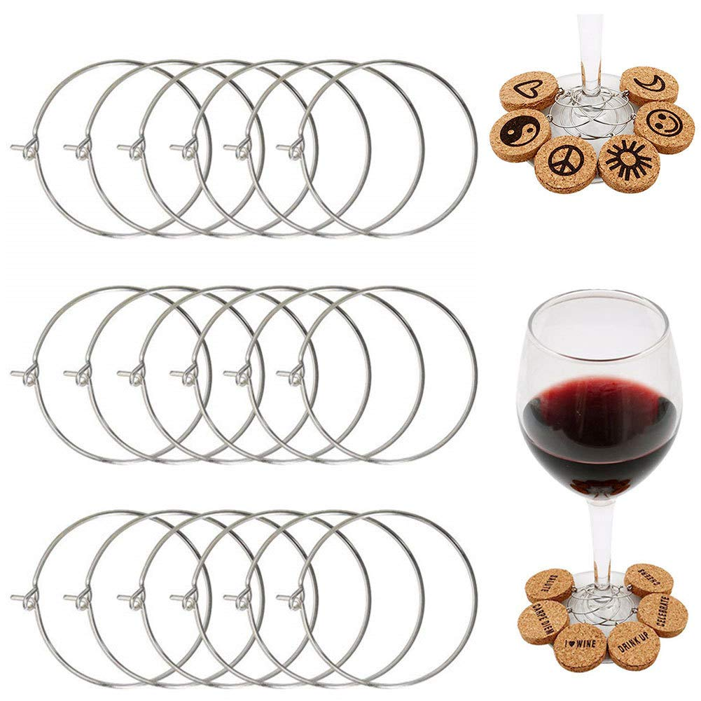 MICHAELA BLAKE Party Decoration Earring Hoops Charm Wine Glass Ring Accessories Circle Drink Markers Supplies Metal Wedding Party Supplies 100Pcs