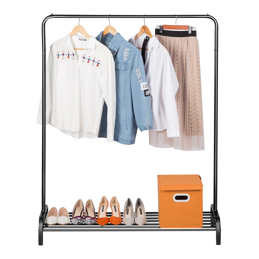 LANGRIA Clothing Garment Rack Heavy Duty Commercial Grade Clothes Stand Rack with Top Rod and Lower Storage Shelf for Boxes Shoes Boots 45.7 x 15.7 x 57.1 inches, Black by LANGRIA