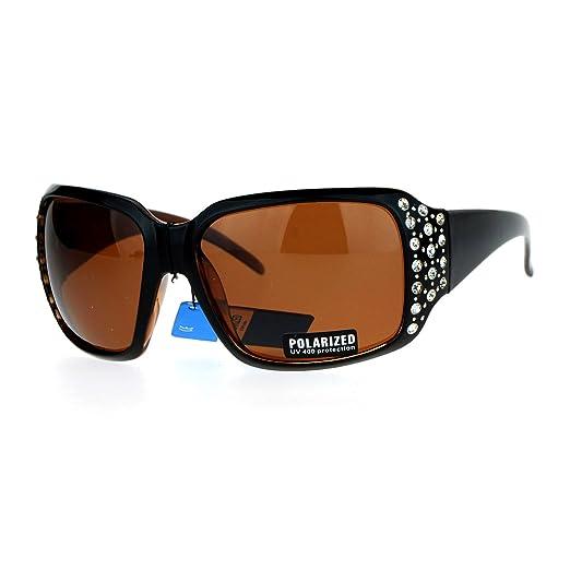 5fd65c3822f Womens Polarized Lens Sunglasses Oversized Square Rhinestone Frame Black  Brown