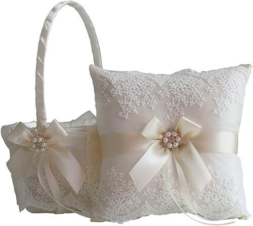 Alex Emotions Ivory Flower Girl Basket and Ring Bearer Pillow Set – Ivory Wedding Basket Pillow Set, Lace Ring Pillow, Lace Ring Holder, Lace Ring Pillow