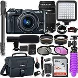 Canon EOS M6 Mirrorless Digital Camera (Black) with EF-M 15-45mm & EF 75-300 Lens + Auto (EF/EF-S to EF-M) Mount Adapter + Professional Video Kit w/32GB Memory, HD Filters, Monopod, Canon Bag & More
