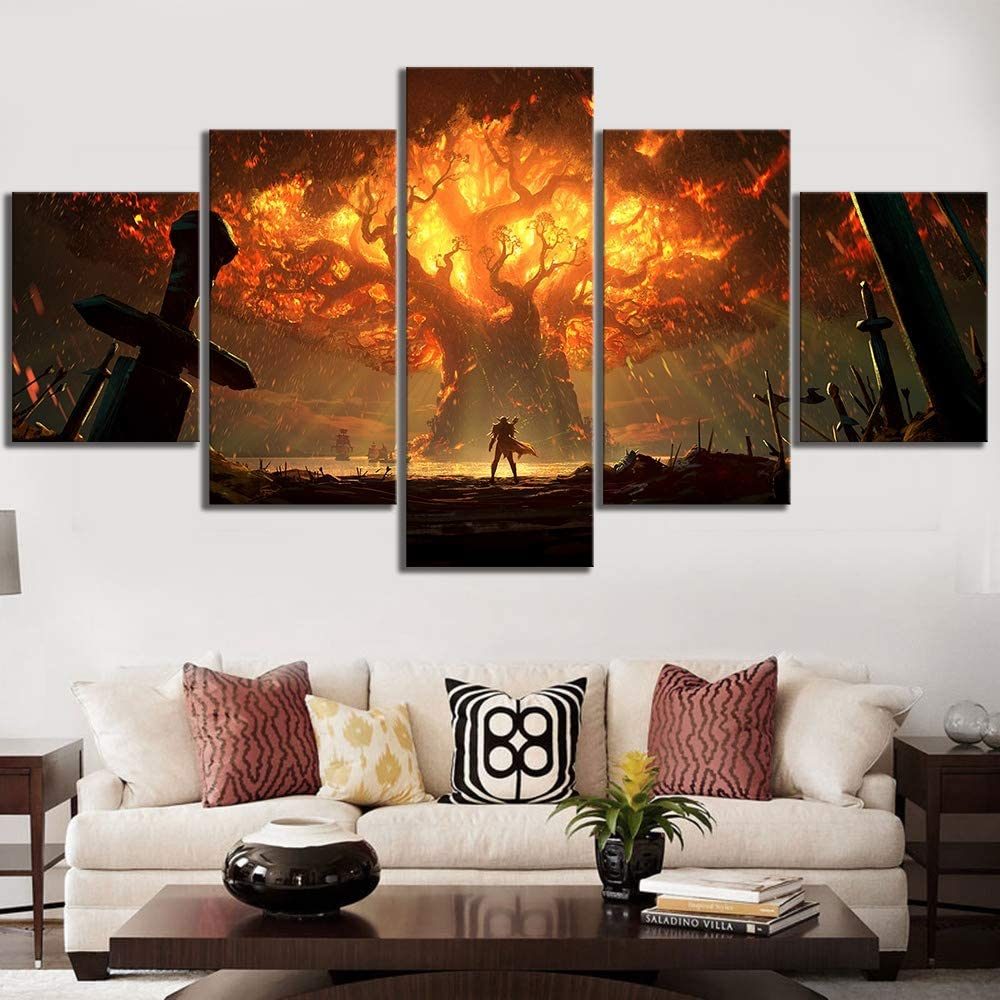 HIMFL Canvas HD Printed Game World of Warcraft Pictures Posters 5 Panel Painting Wall Art Modern Artwork Home Decor
