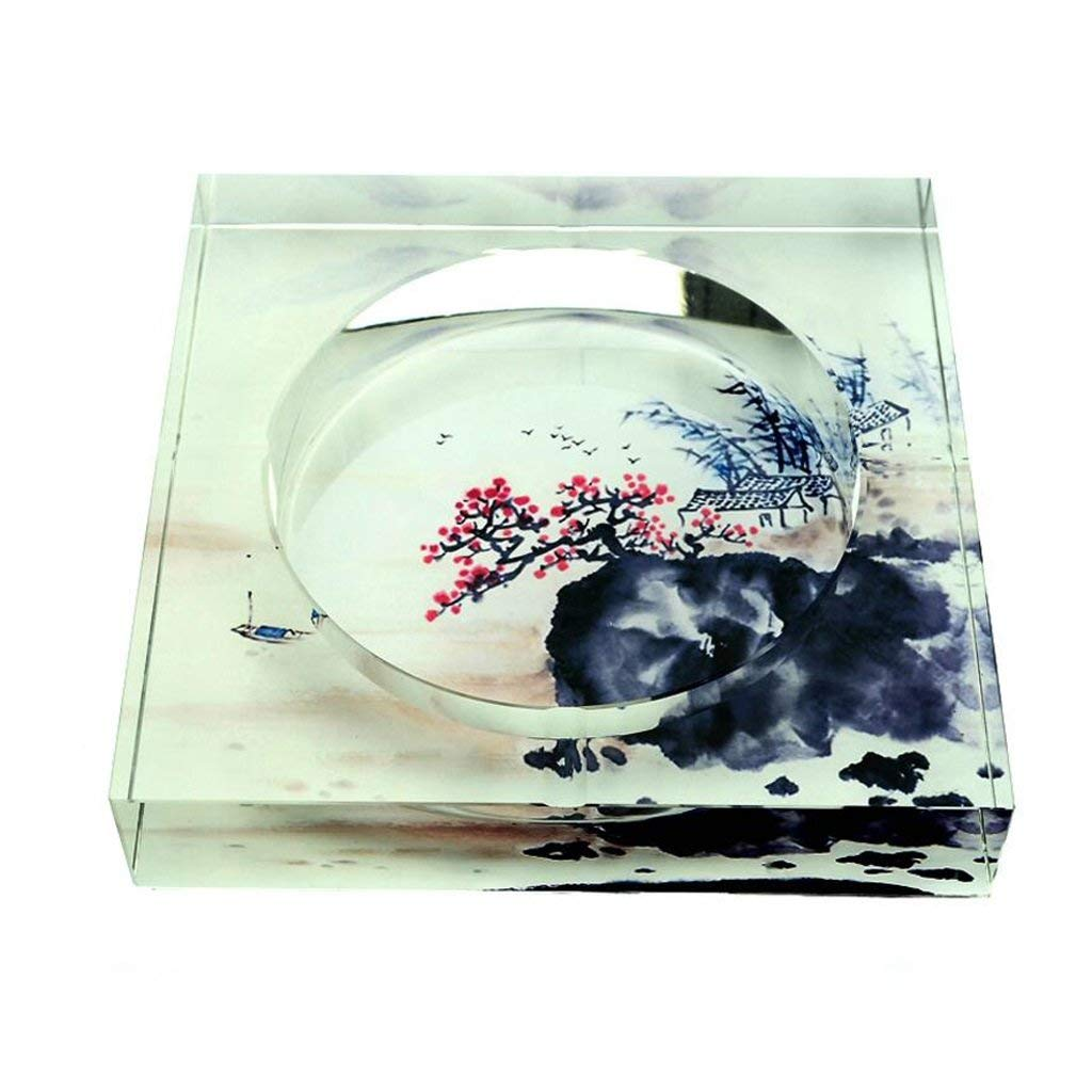 Huasen Home Ashtray Ashtray 3D Plum Blossom Square Crystal Fashion Creative Gifts Home Living Room Decoration Office Ashtray (Size : 25254.5cm) by Huasen (Image #1)