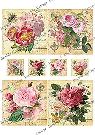 Amazon paper for decoupage vintage style and decoupage gift amazon paper for decoupage vintage style and decoupage gift wrap size 20x25 cm total 3 sheets arts crafts sewing mightylinksfo