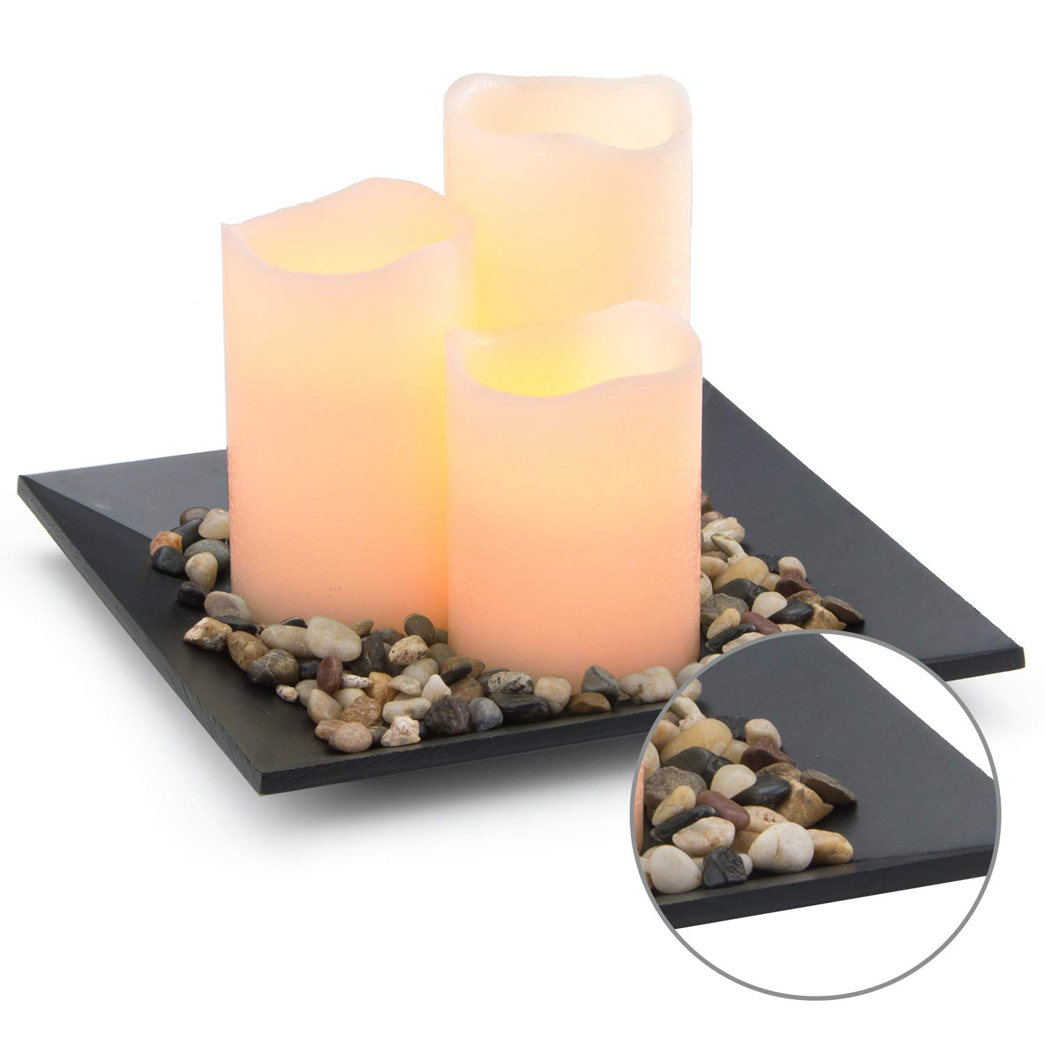 Flameless Candles Set Classic Ivory Real Wax Pillar Battery Operated Candles LED Candle Tray Home Decoration Safe Flickering Dancing Flameless Candles(H4'' 5'' 6''),Sets of 3 with Tray & Rocks Pebble