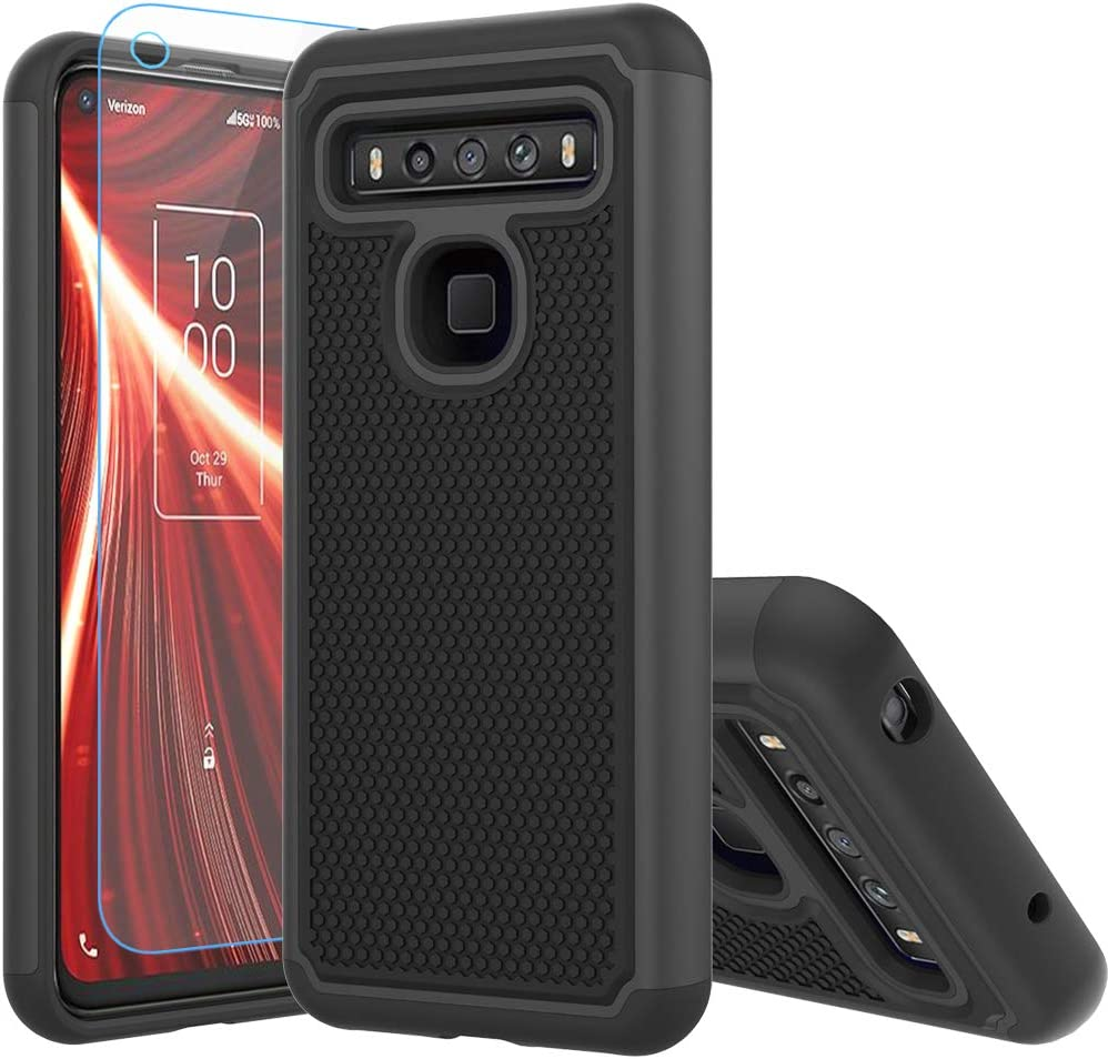 TCL 10 5G UW Case,TCL 10 5G UW Case,with HD Screen Protector [Shock Absorption] Hybrid Dual Layer TPU & Hard Back Cover Bumper Protective Case Cover for TCL 10 5G UW (Black Armor)