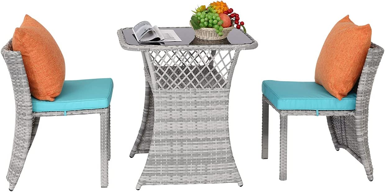BPTD 3 Pieces Patio Outdoor Furniture Wicker PE Rattan Set, Bistro Set Outdoor Conversation Set Patio Dining Set No Assembly Required for Backyard Porch Garden Space Saving Design (Turquoise)